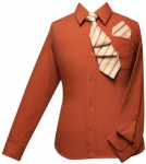 Boys Shirt w/ Tie and Hanky-(Rust/ Rust)