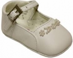 Girls Infants crib shoes with pearls-White