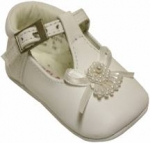 Girls Infants shoes T strap with flowers-White
