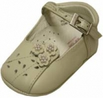 Girls Infants crib shoes with flowers & pearls-Bone