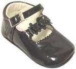 Girls Infants crib shoes with 3 sunflowers w/ pearls-BlackPat