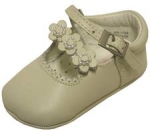 Girls Infants crib shoes with 3 sunflowers w/ pearls-Bone