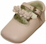 Girls Infants crib shoes with 3 sunflowers w/ pearls-Pink