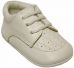 Boys Infants shoes lace up w/ hole and design-White