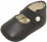 Girls Infants crib shoes with buttons-Black