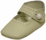 Girls Infants crib shoes with buttons-Bone/Bone