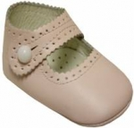 Girls Infants crib shoes with buttons-Pink/Pink