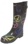 Ladies Peace Design Rain Boots-T-(Black/Multi)