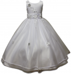 GIRLS COMMUNION DRESSES W/ FLOWER DESIGN IN WAIST