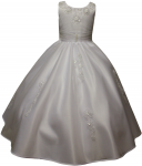 GIRLS COMMUNION DRESSES W/ FLOWERS AROUND NECK