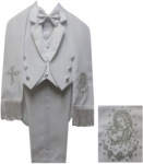 BOYS CHRISTENING TUXEDOS W/ TAIL (WHITE/SILVER) 0512250