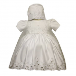 GIRLS CHRISTENING DRESS W/ BONNET HAT 0515426-WHITE