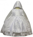 Girl Angel Dress w/ Bonnet Hat and w/ Silver Angel