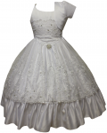 GIRLS COMMUNION DRESS W/ VIRGIN IN FRONT & JACKET