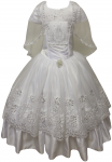 GIRLS COMMUNION DRESS W/ VIRGIN IN FRONT & DESIGN CAPE
