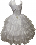 GIRLS COMMUNION DRESS W/ VIRGIN IN FRONT & JACKET (WHITE)