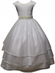 GIRLS COMMUNION DRESSES W/ BEADS IN WAIST