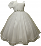 GIRLS COMMUNION DRESSES W/ FLOWER BEADS IN WAIST