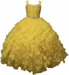 GIRLS RUFFLE DRESS SLEEVELESS W/ BEADS ON TOP (YELLOW)