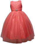 GIRLS DRESSES W/BROACH (CORAL)