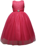 GIRLS DRESSES W/BROACH (FUSHIA)