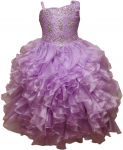 GIRLS RUFFLE DRESSES W/ BEADS ON TOP (LILAC)