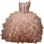 GIRLS RUFFLE DRESSES W/ BEADS ON TOP (PINK)