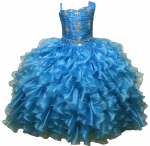 GIRLS RUFFLE DRESSES W/ BEADS ON TOP (TURQ)