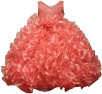 GIRLS RUFFLE DRESSES W/TAIL (CORAL) 0515598