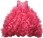 GIRLS RUFFLE DRESSES W/TAIL (FUSHIA) 0515598