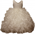 GIRLS RUFFLE DRESSES (IVORY)
