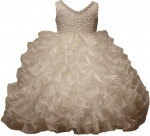 GIRLS RUFFLE DRESSES W/TAIL (IVORY) 0515598