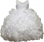 GIRLS RUFFLE DRESSES W/TAIL (WHITE) 0515598
