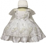 Girls Dress w/ Bonnet Hat-White