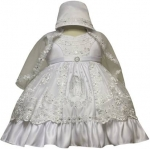 Girls Virgin Dress w/ Bonnet hat (w/ Virgin)-White