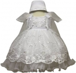 Girls Dress w/ Bonnet Hat-White/White