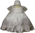 Girls Cross Dress w/ Bonnet Hat (w/ Cross)-White