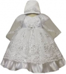 Girls Dress w/ Designs Bonnet Hat-White