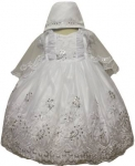 Girls Dress w/ Designs Bonnet Hat-White/White