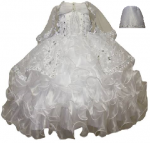 GIRLS CHRISTENING DRESS W/ SILVER VIRGIN & BONNET HAT 0515621-WHITE