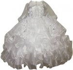 GIRLS CHRISTENING RUFFLE DRESS W/ GUADALUPE VIRGIN