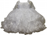 GIRLS CHRISTENING RUFFLE DRESS W/ VIRGIN