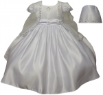 GIRLS CHRISTENING DRESS W/ BONNET HAT 0515626-WHITE