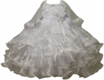 GIRLS CHRISTENING RUFFLE DRESS W/ FLOWER