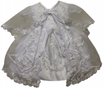 GIRLS CHRISTENING DRESS W/ SILVER VIRGIN ON SKIRT