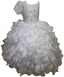 GIRLS COMMUNION DRESSES W/ BEADS ON TOP