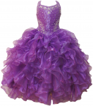 GIRLS RUFFLE DRESSES (PURPLE) 0515726