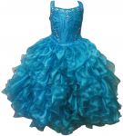 GIRLS RUFFLE DRESSES (TURQ) 0515726