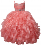 GIRLS RUFFLE DRESSES (CORAL) 0515740