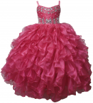 GIRLS RUFFLE DRESSES (FUSHIA) 0515740